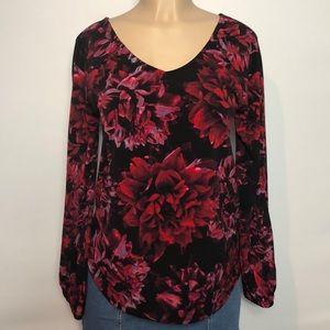 Cupio Black & Red Floral Long Sleeve V-neck Blouse
